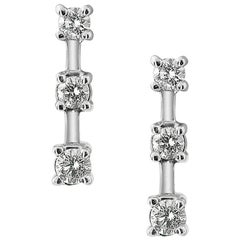 White Gold Triple Diamond Earrings