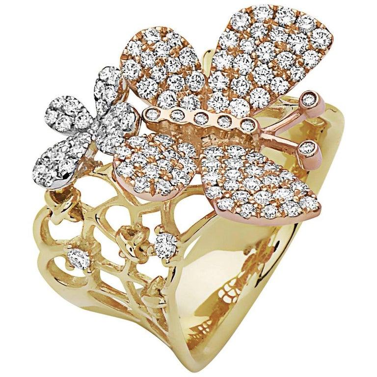Emilio Jewelry Butterfly Diamond Fashion Ring