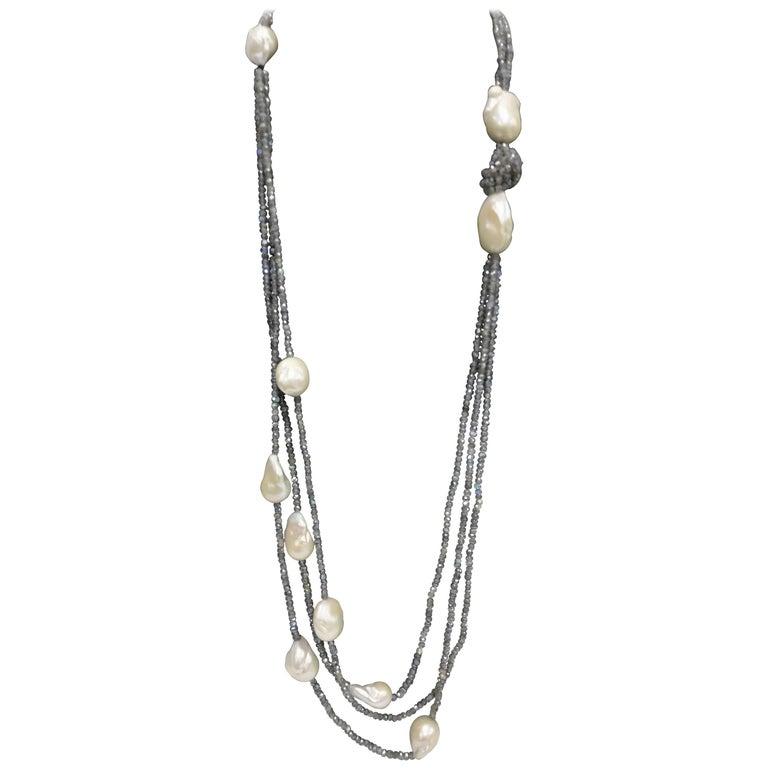 Labradorite and Fresh Water Baroque Necklace