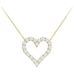 Diamond Gold Open Heart Pendant Necklace