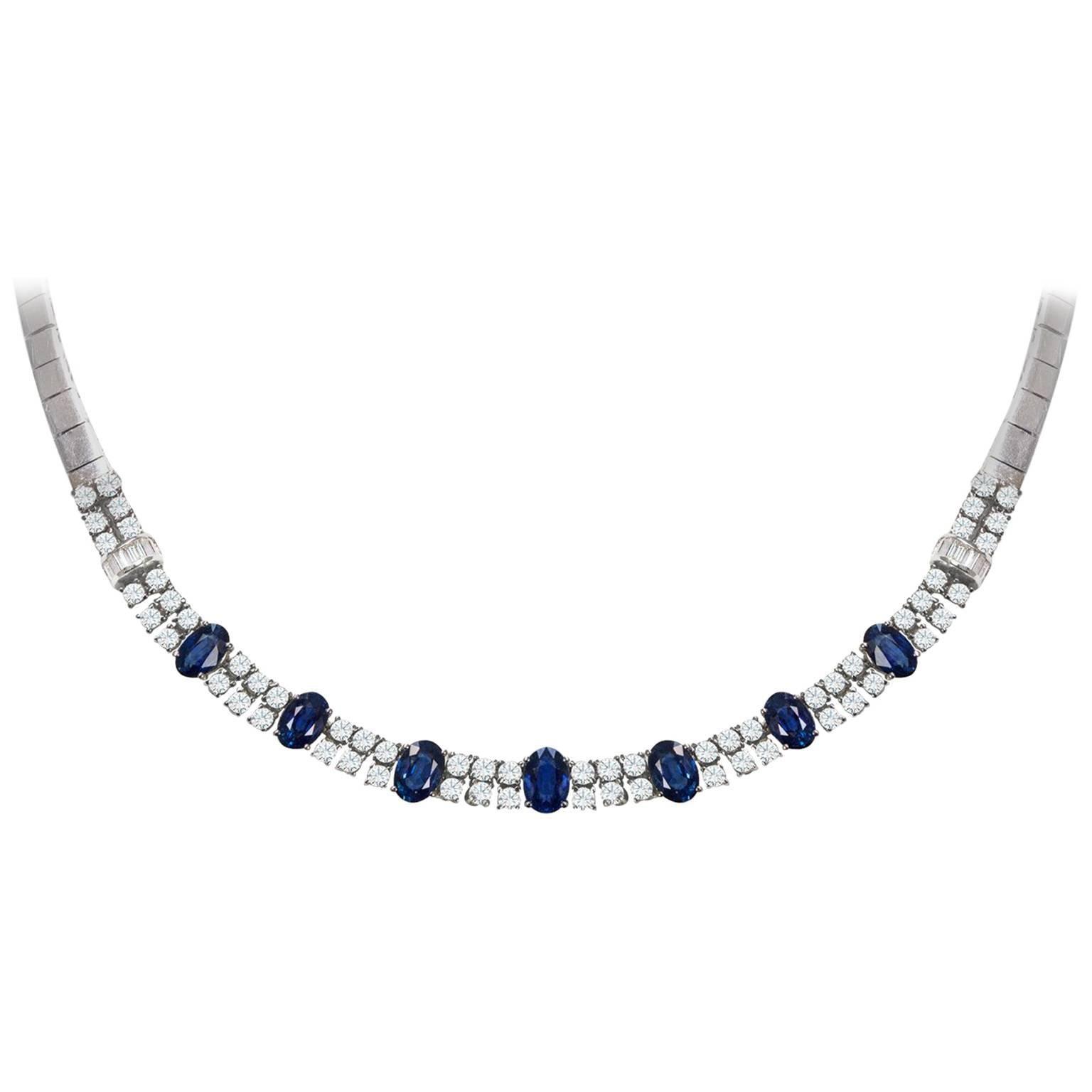 Roman Malakov, Oval Cut Sapphire Diamond Necklace