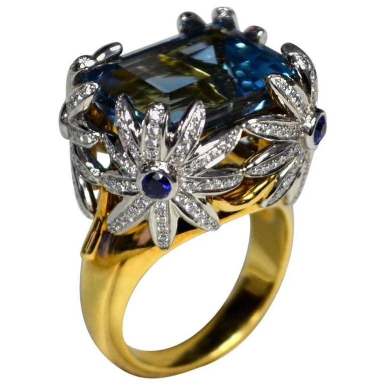 Tiffany & Co. Schlumberger Aquamarine Diamond Sapphire Cocktail Ring