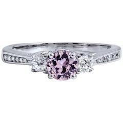 0.55 Carat No-Heat Pink Sapphire and Diamond Three-Stone Ring