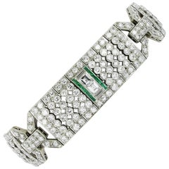 Magnificent Emerald and Diamond Platinum Art Deco Bracelet