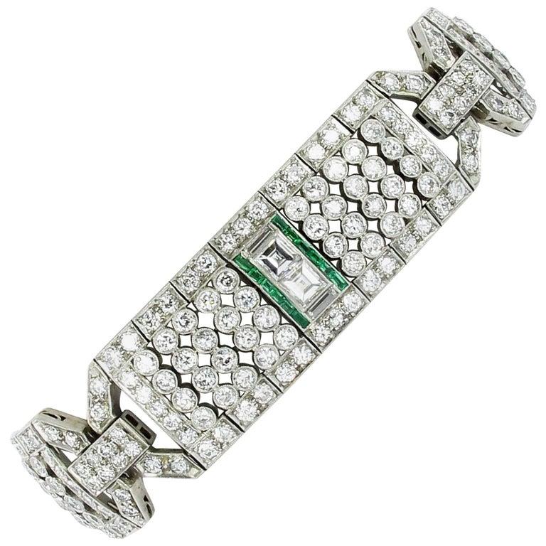Magnificent Emerald and Diamond Platinum Art Deco Bracelet