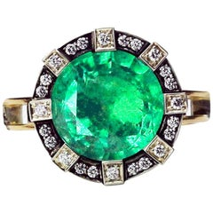 Ark Design, Emerald, Diamonds and Yellow Gold Ring