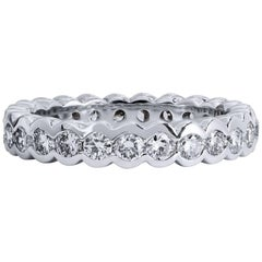 Platinum 1.65 carat Round Brilliant Cut Diamond Eternity Band Ring Size 6