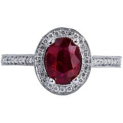 1.38 Carat Oval Burma Ruby Ring
