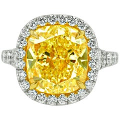 Canary 7.65 Carat Fancy Yellow VS2 Diamond Ring