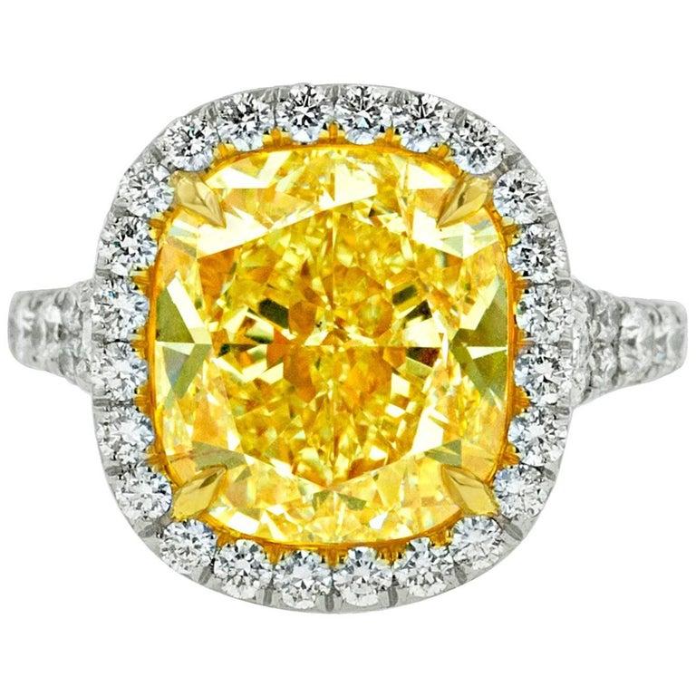 Canary 7.65 Carat Fancy Yellow VS2 Diamond Ring