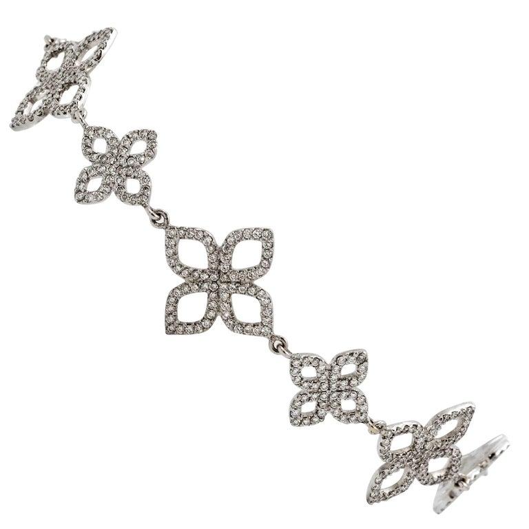 18 Karat White Gold Etoile Diamond Link Bracelet
