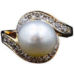 14 Karat Gold Pearl Diamond Ring