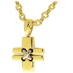 Chaumet Liens 18 Karat Yellow and White Gold Cross Necklace