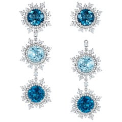 Nadine Aysoy 18 Karat White Gold Aquamarine and Blue Topaz Diamond Long Earrings