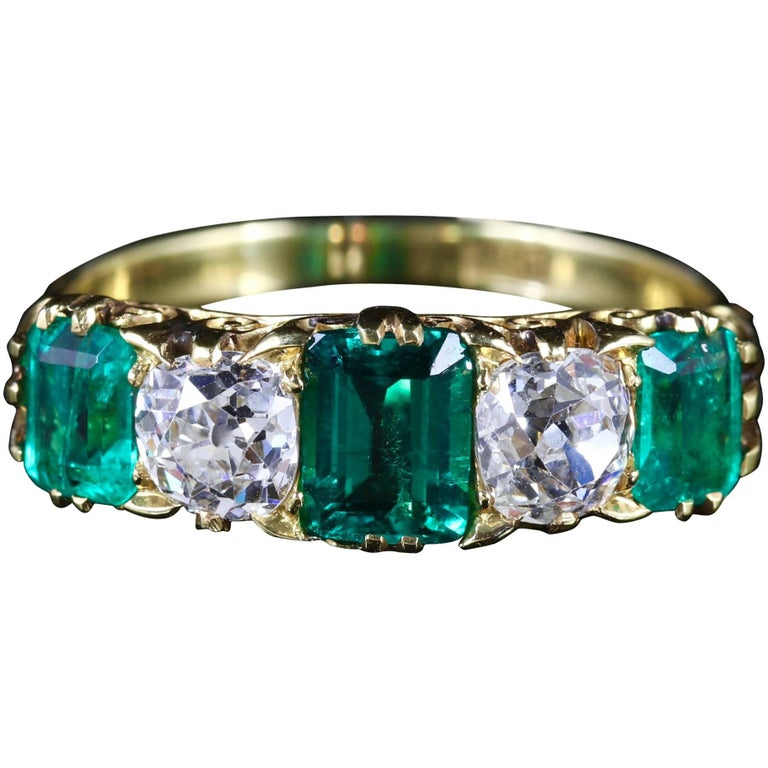 Antique Victorian Emerald Diamond Ring 18 Carat Gold 2 Carat Emerald