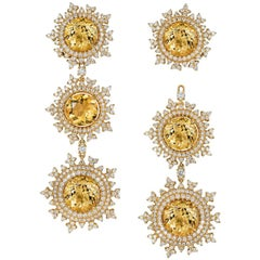 Nadine Aysoy 18 Karat Gold and Yellow Beryl Diamond Long Detachable Earrings