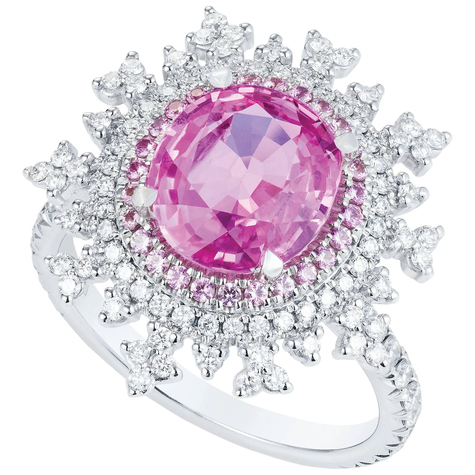 Nadine Aysoy 18Karat White Gold, Pink Sapphire and White Diamond ...