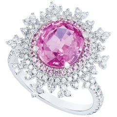 Nadine Aysoy 18Karat White Gold, Pink Sapphire and White Diamond Engagement Ring