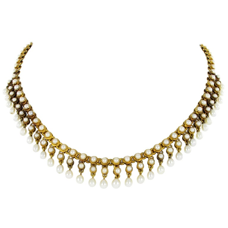 Natural Pearl Gold Necklace