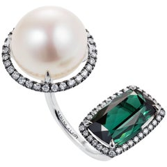 Nadine Aysoy 18 Karat Gold Tourmaline and South Sea Pearl Diamond Cocktail Ring