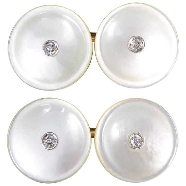 Mother-of-Pearl Vintage 14 Carat Gold Cufflinks Set with Diamonds