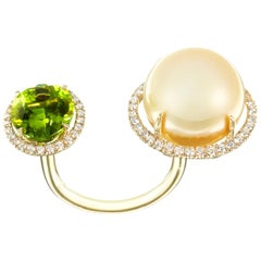 Nadine Aysoy Yellow Gold Green Peridot and South Sea Pearl Diamond Cocktail Ring