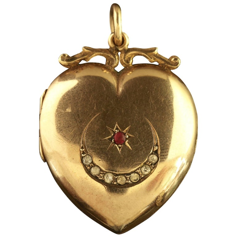Antique Victorian Gold Locket Star and Crescent Ruby