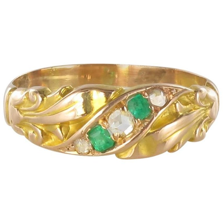 1850s 18 Carat Rose Yellow Gold Diamond Emerald Fleur de Lys Band Ring For Sale