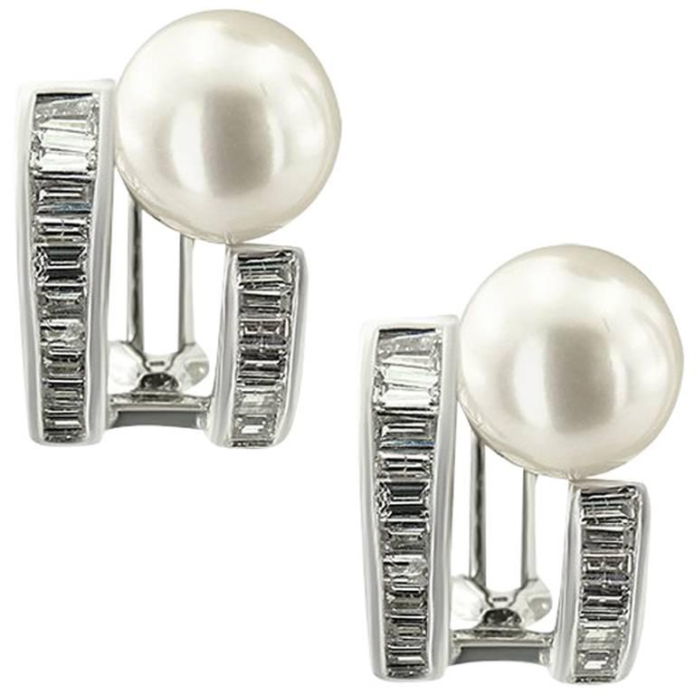 White Gold Pearls and Diamond Earrings