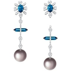 Nadine Aysoy 18 Karat Gold Blue Topaz, Tourmaline and Pearl Diamond Earrings