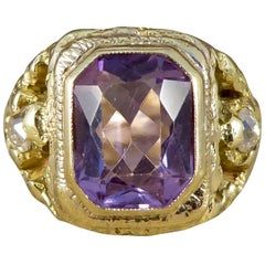 Antique Early Victorian Amethyst and Old Cut Diamond Ring in 14 Carat Gold