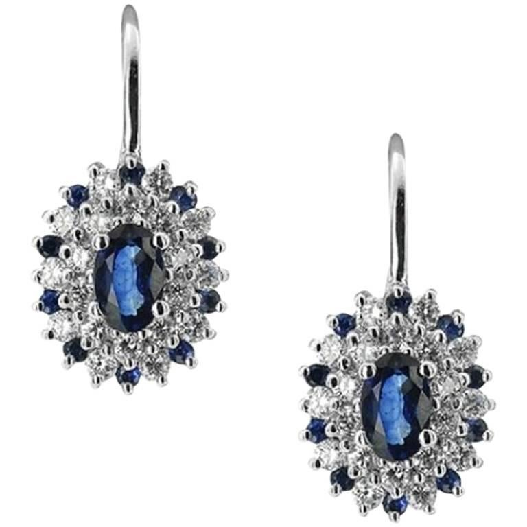 White Gold Sapphire and Diamond Earrings For Sale