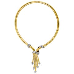 1950s 18K Yellow Gold Diamond Necklace