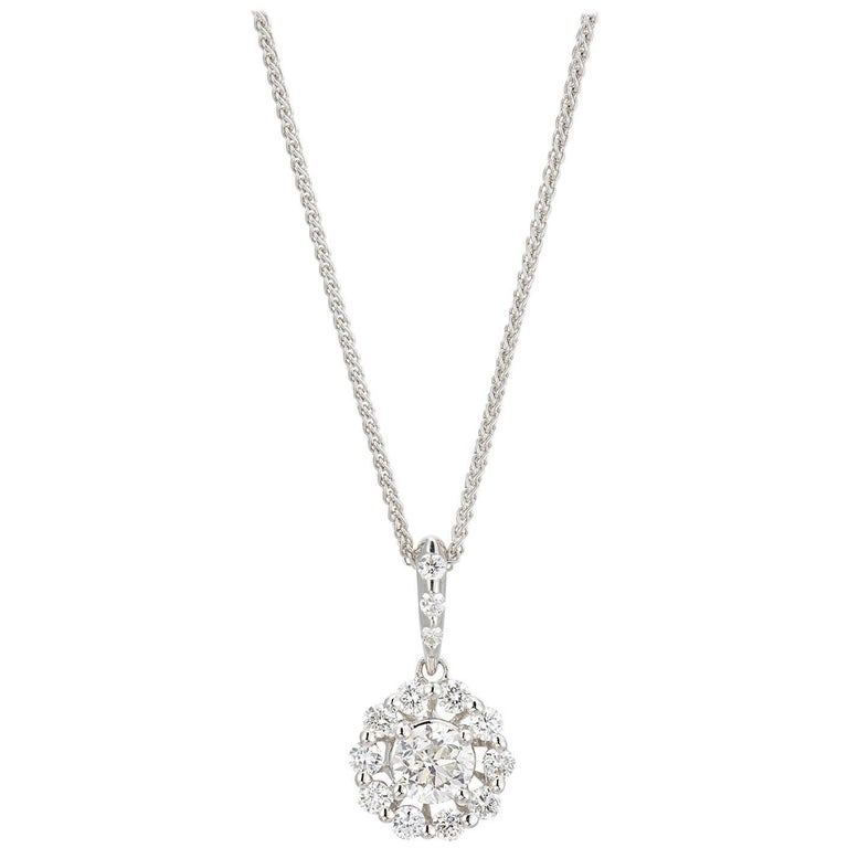 18 karat white gold 1 carat diamond pendant for sale at 1stdibs 18 karat white gold 1 carat diamond pendant for sale aloadofball Image collections