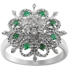 White Gold Flower Diamond and Emerald Ring