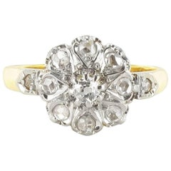 French Napoleon 3 18 Carat Yellow Gold Platinum Engagement Diamond Cluster Ring