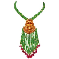 Tsavorite Ruby and Rubellite Tassel Bead Necklace