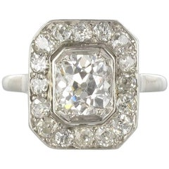 Art Deco French 2.60 Carat Diamond Platinum Ring