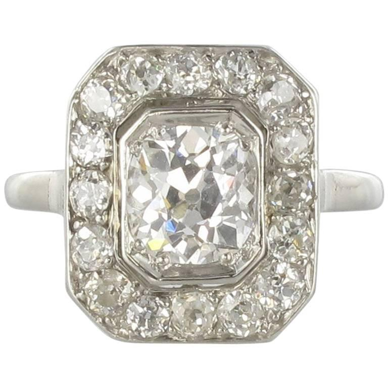 Art Deco French 2.60 Carat Diamond Platinum Ring 1