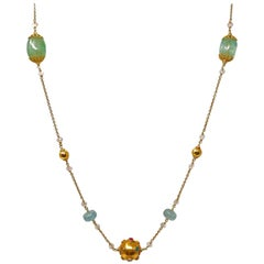 Dancing Apsara Beryl Aquamarine Gold and Precious Stone Sautoir Bead Necklace