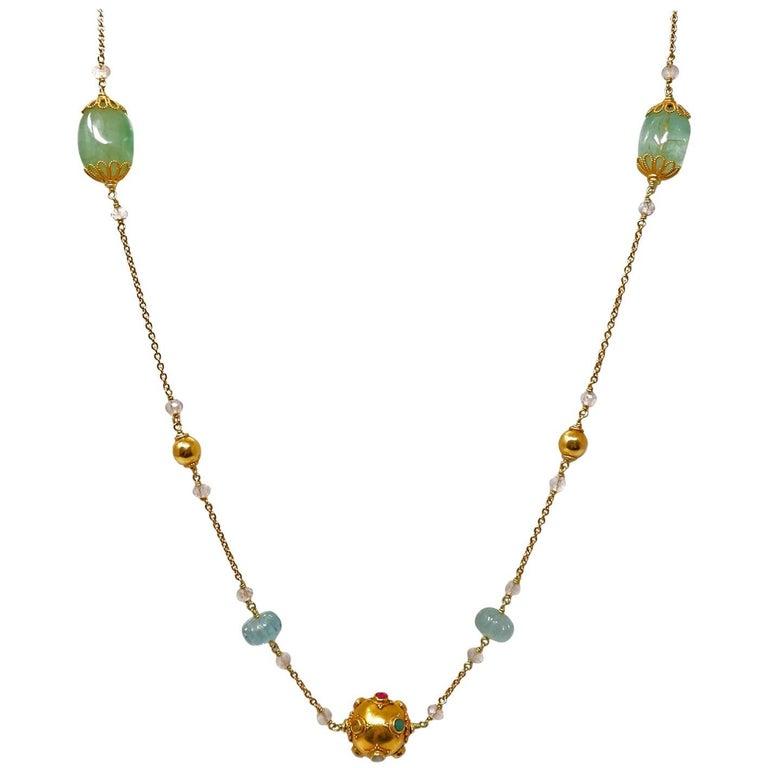 Green Beryl, Aquamarine, Gold and Precious Stone Sautoir Necklace