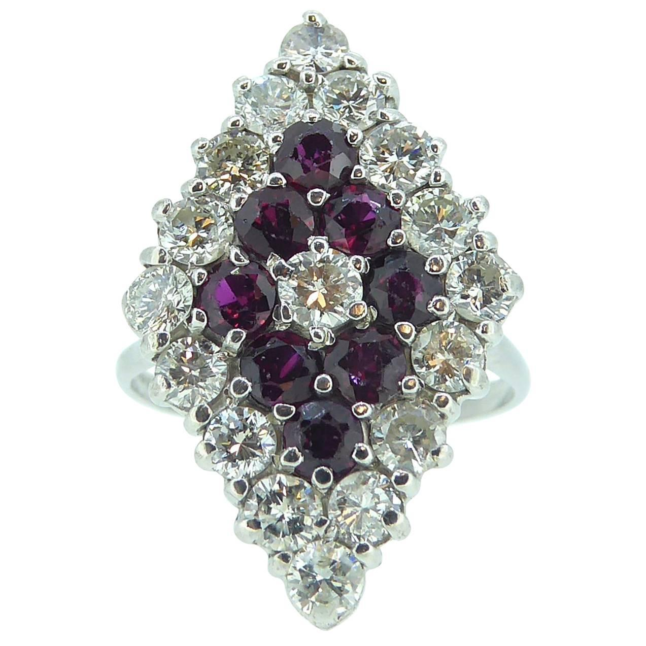 Vintage Ruby and Diamond Marquise Cocktail Cluster Ring, circa 1980s
