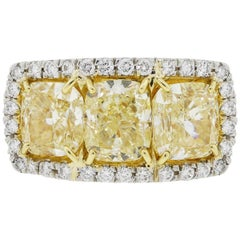 Fancy Yellow Cushion Cut Diamond Halo Ring