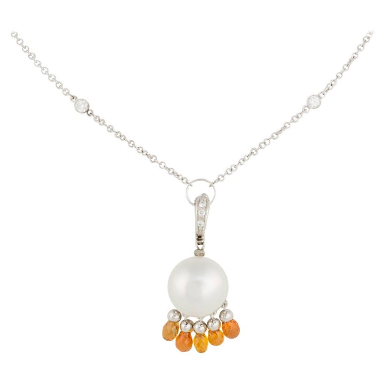 Ella Gafter White Pearl Sapphire and Diamond Gold Pendant Necklace