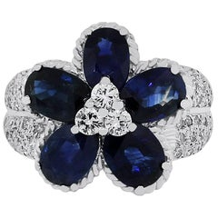 Sapphire and Diamond Flower Cocktail Ring