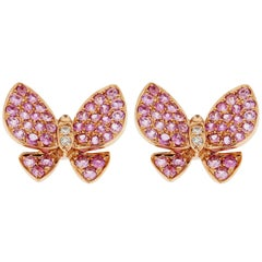 Jona Pink Sapphire White Diamond Rose Gold Butterfly Stud Earrings