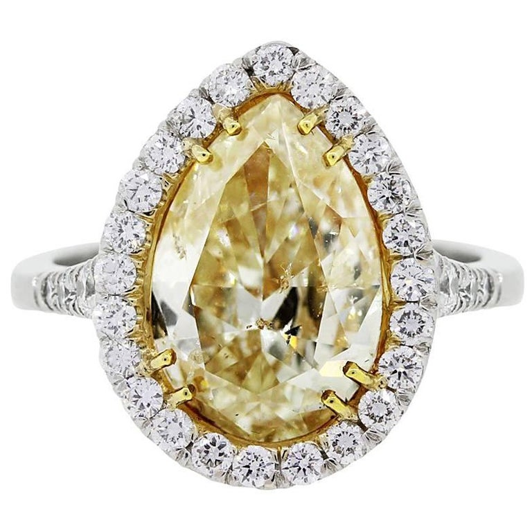 5.91 Carat Fancy Yellow Pear Shape Diamond Engagement Ring