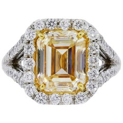 EGL Certified 5.02 Carat Fancy Yellow Emerald Cut Diamond Engagement Ring