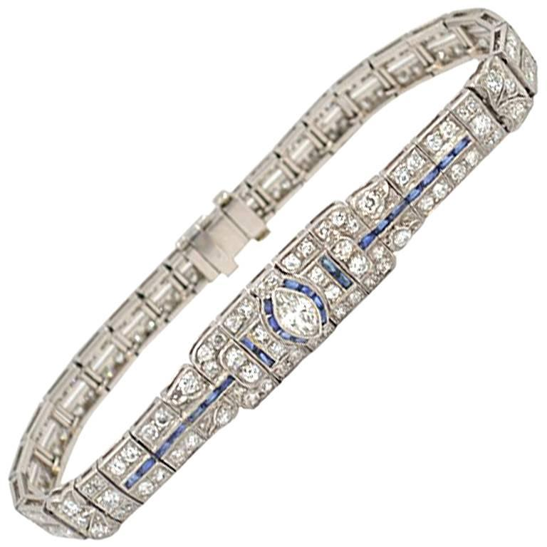 Art Deco Diamond and Sapphire Platinum Bracelet, circa 1930s