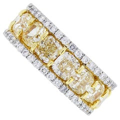 EGL Certified Fancy Yellow Cushion Cut Diamond Eternity Band